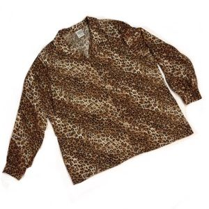 animal print button up blouse, size 16
